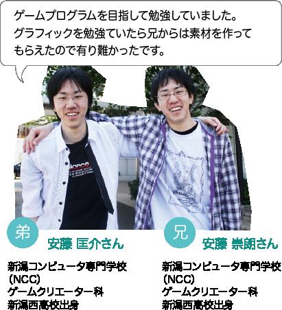 安藤 匡介さん:ゲームプログラムを目指して勉強していました。グラフィックを勉強ていたら兄からは素材を作ってもらえたので有り難かったです。